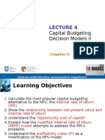Capital Budgeting Decision Models II