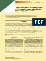 Estudio de La Concentracion de Cadmio y Plomo en El Aire de La Ciudad de Quito Empleando Briofitas Como Biomonitores
