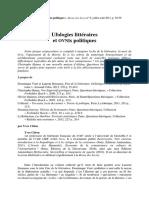 Ufologies Litteraires Et Ovnis Politiques