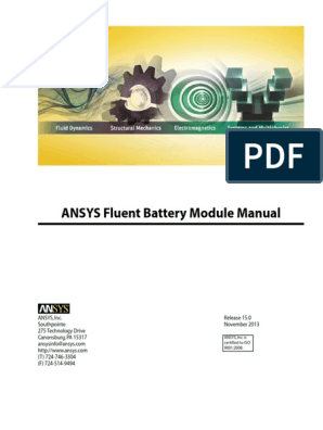 ANSYS Fluent Battery Module Manual pdf | Lithium Ion Battery