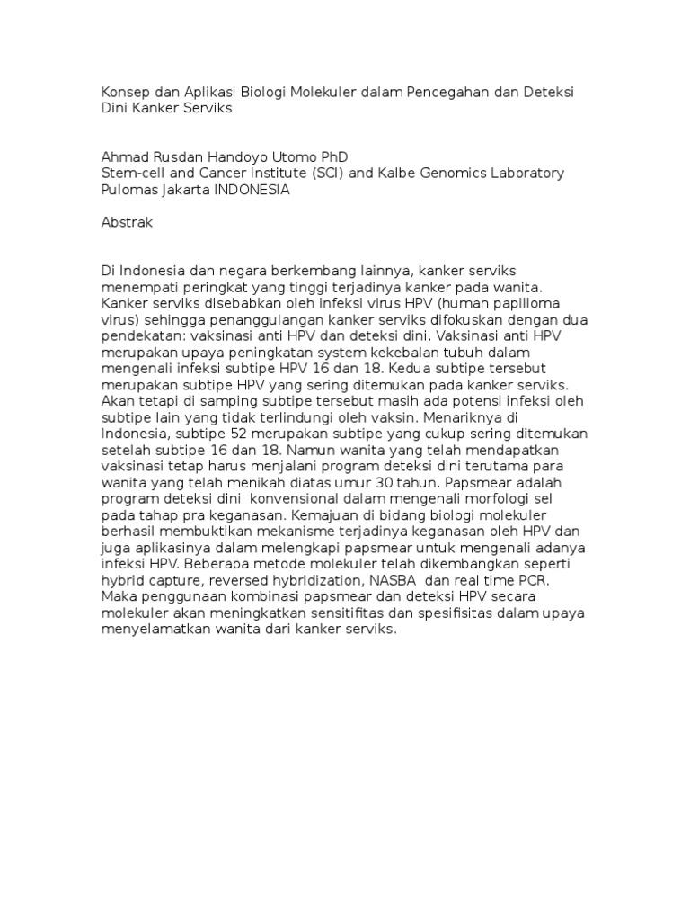 Abstrak Konsep dan Aplikasi Biologi Molekuler dalam Pencegahan dan ...