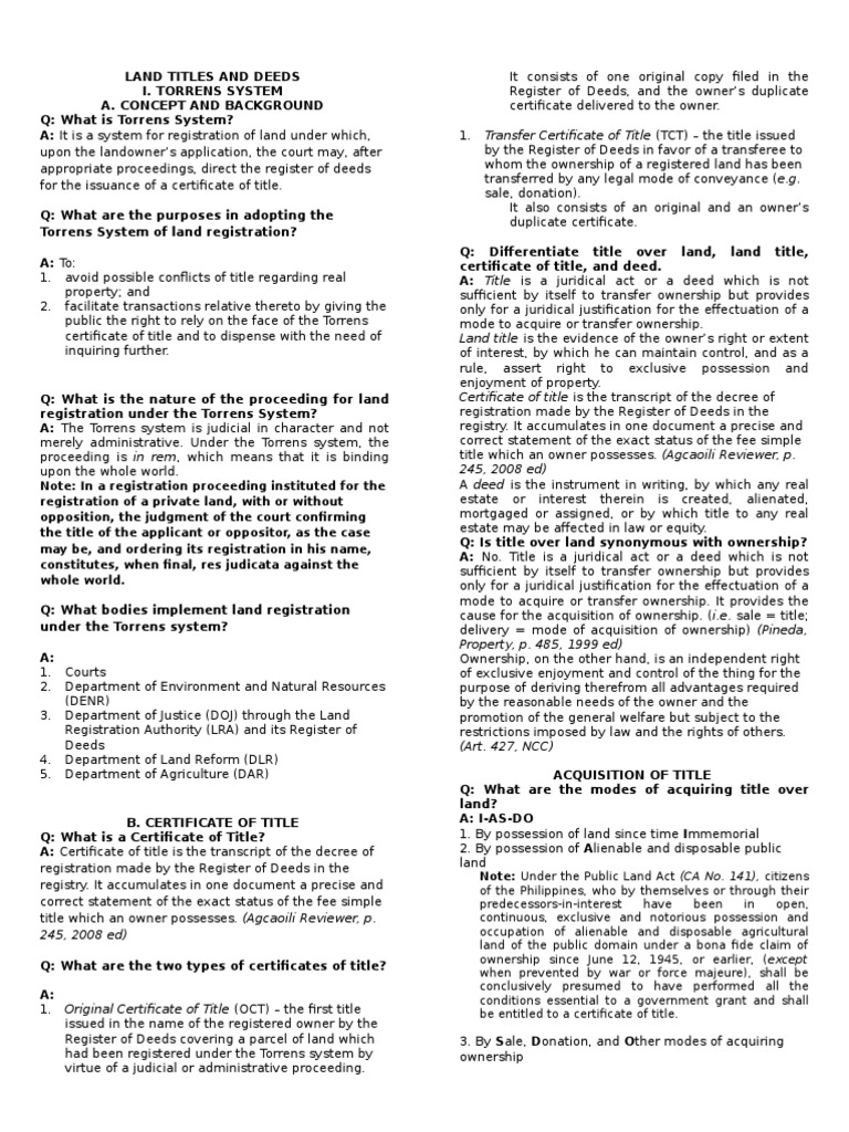 Land Titles And Deeds Deed Title Property