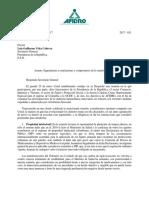 Carta de AFIDRO hacia Luis Vélez (Secretario de la Presidencia de Colombia)
