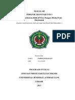Tugas Besar Teknik Manufaktur 2 Fahmi Nurjanani 2111151049