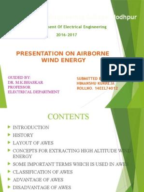 seminar report on air borne wind energy   Wind Power   Lift