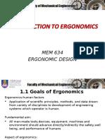 1.0 Introductions to Ergonomics