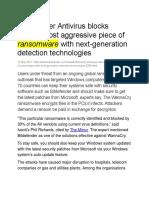 Bitdefender Antivirus blocks world's most aggressive piece of ransomware with next-generation detection technologies