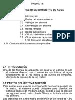 UNIDAD III Sistema Directo de Abastecimiento de Agua