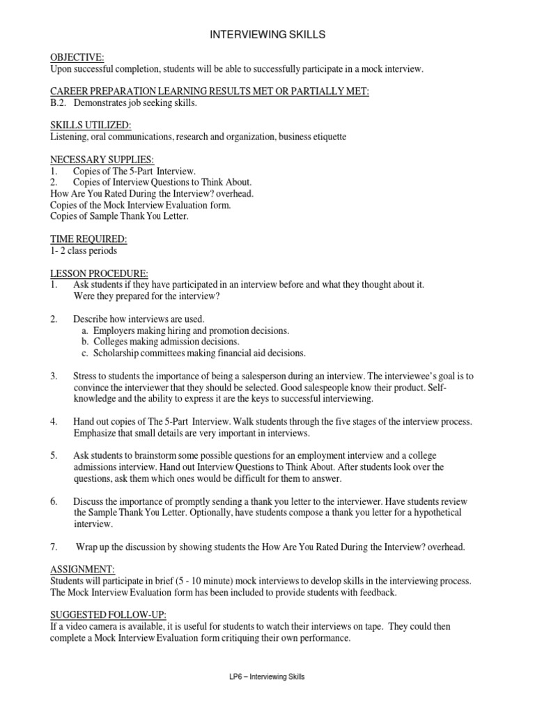Job Interviewing Skills Lesson Plan.pdf | Interview | Job ...