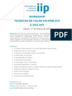 Workshop Técnicas Falar Publico e Voz Off