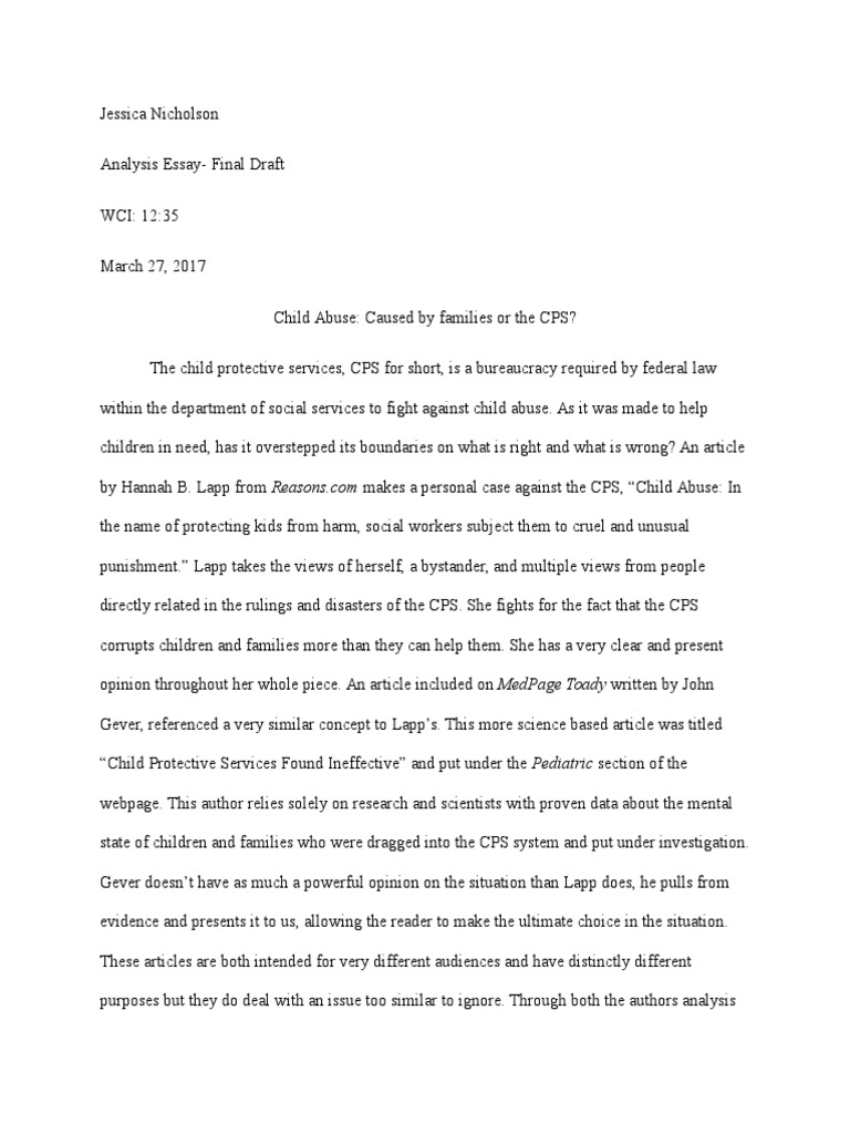 child protective services essay On this page you will find help on writing essay about child neglect, physical child abuse check free samples for your review at professays.