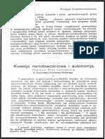 Kwestia narodowościowa i autonomia (5) - Róża Luksemburg
