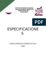 Especifiaciones de La Instalación Hidráulica