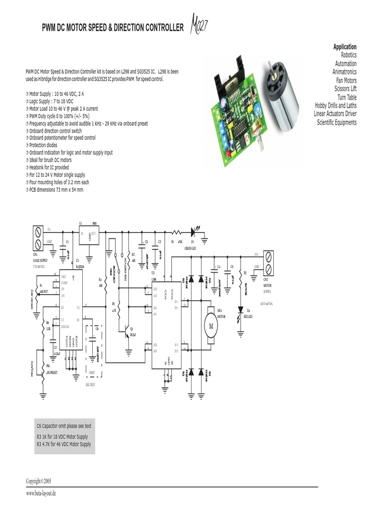 Motor Cc Speed Controlpdf Electrical Circuits Manufactured Goods Diagram Together With L298 H Bridge Circuit Pin On