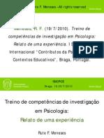 Treino de competências de investigação em Psicologia- Relato de uma experiência