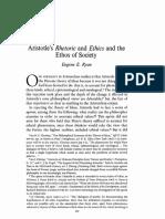 Eugene Ryan - Aristotles Rhetoric and Ethics and the Ethos of Society
