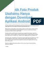 Percantik Foto Produk Usahamu Hanya Dengan Download Aplikasi Android Ini