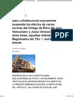 SC Suspende Efectos de Artículos Del Nuevo Código Ética Del Juez y Jueza Veenzolanos - Sentencia