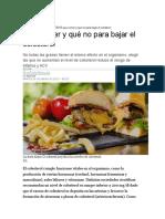 Qué Comer y Qué No Para Bajar El Colesterol