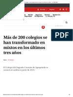 Más de 200 Colegios Se Han Transformado en Mixtos en Los Últimos Tres Años - LA TERCERA