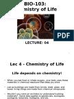 Lec 4,5 Chemistry of Life