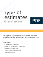 Type of Estimates, cost and time for project
