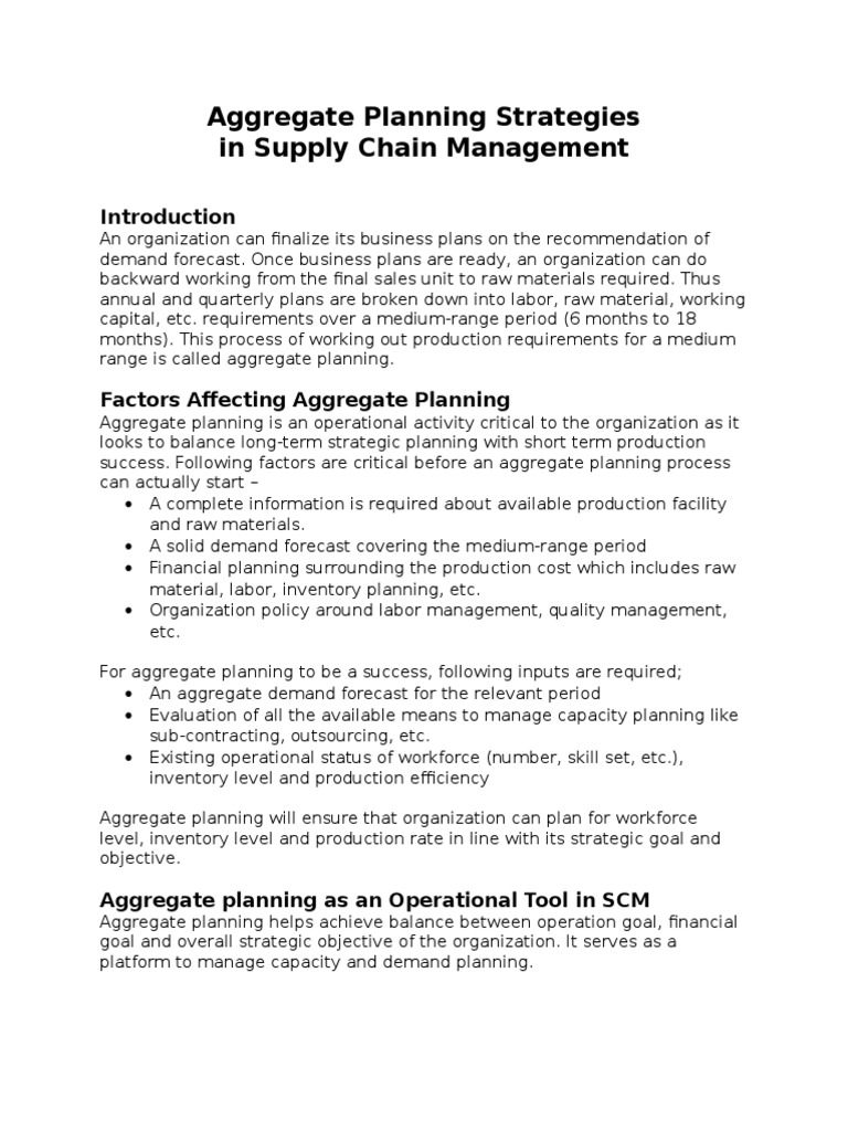 Aggregate Planning Strategies Of Scm Inventory Supply Chain