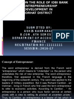 A Study on the Role of Idbi Bank in Entrepreneurship Development In