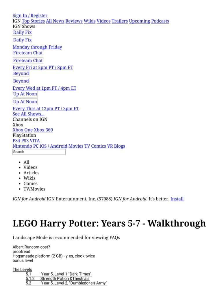 Lego Harry Potter Years 5 7 Walkthrough Xbox 360