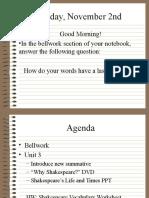 Shakespeare Lifetimes Introduction Powerpoint Presentation