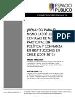 ¿REMANDO PARA EL  MISMO LADO? J ÓVENES,  CONSUMO DE MEDIOS,  PARTICIPACIÓN  POLÍTICA Y CONFIANZA  EN INSTITUCIONES EN  CHILE (2009 - 2013 ) ARTURO ARRIAGADA