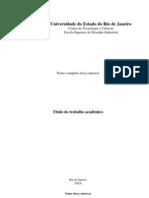 Modelo De Trabalho Acadêmico Uerj Hipertexto Educação à