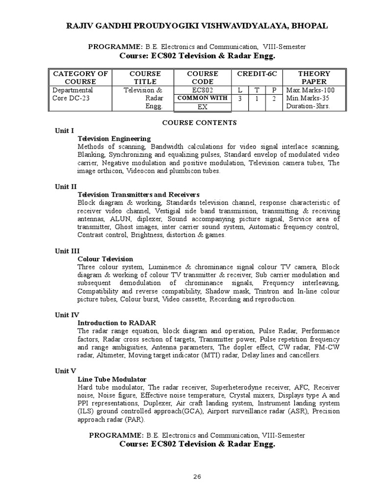 Ec Viii Sem Television And Radar Engg Video Block Diagram Of Tv Receiver