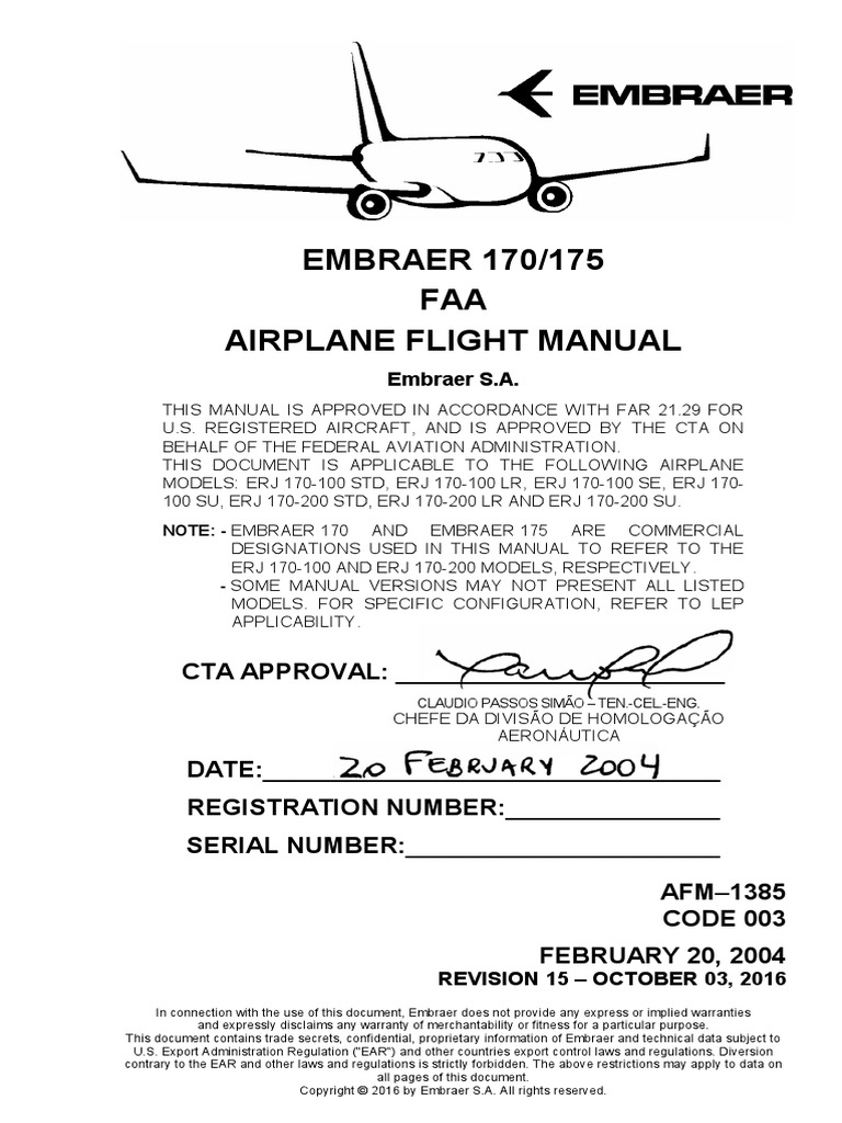 EMBRAER 170/175 AIRPLANE FLIGHT MANUAL | Aerospace Engineering | Aeronautics