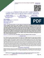 CORROSION BEHAVIOR of LOW CARBONSTEEL (SHEET METALS) in SELECTED ACIDIC MEDIUM