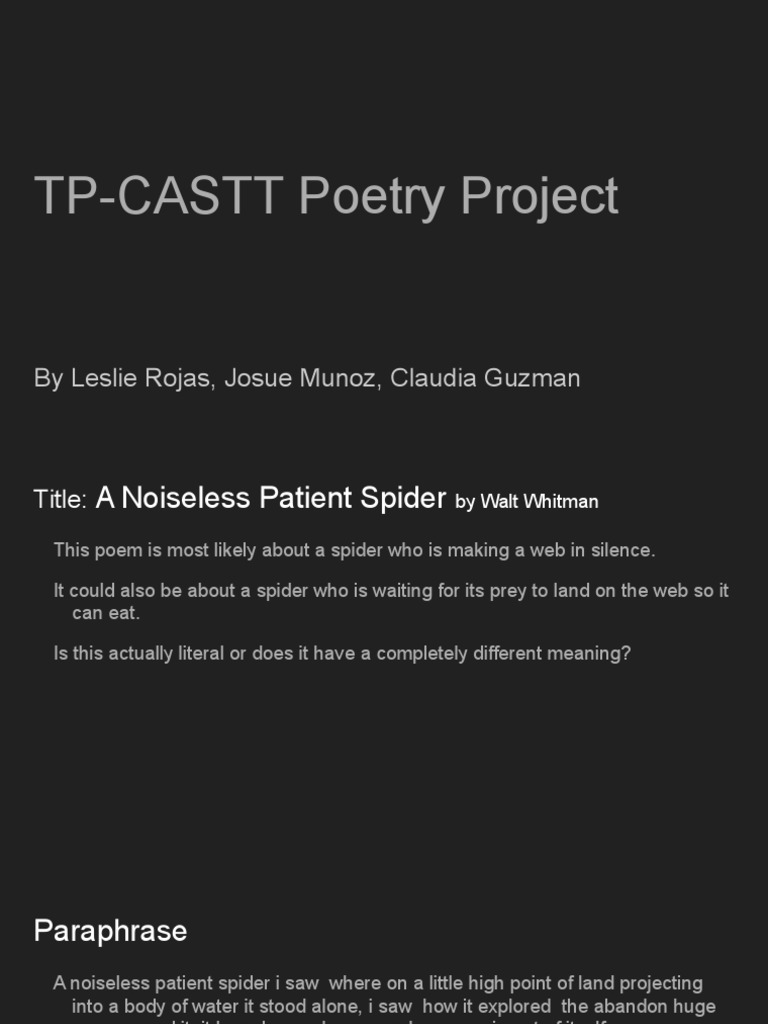 a noiseless patient spider by walt whitman analysis