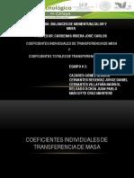 Coeficientes Individuales y Totales de Transferencia de Masa Equipo # 3