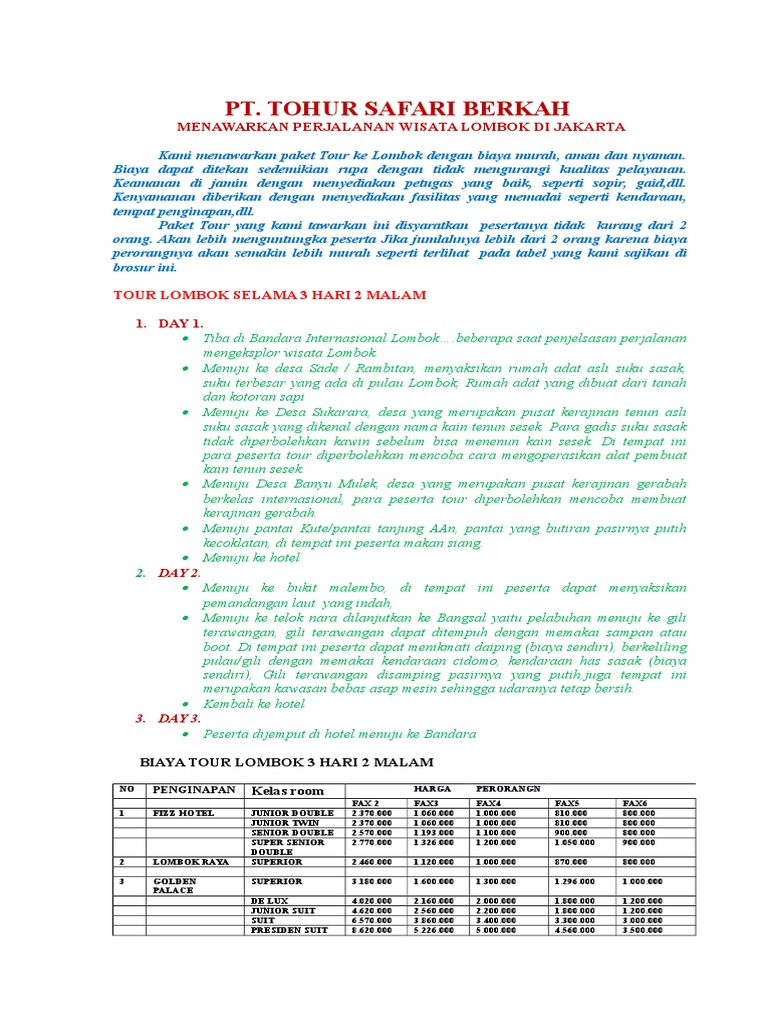 Wisata Lombok Pilihandocx Paket Tour 3 Hari 2 Malam
