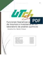 Funciones Operativas en El Manejo de Insumos e Inventarios en Un Laboratorio de Análisis Químicos