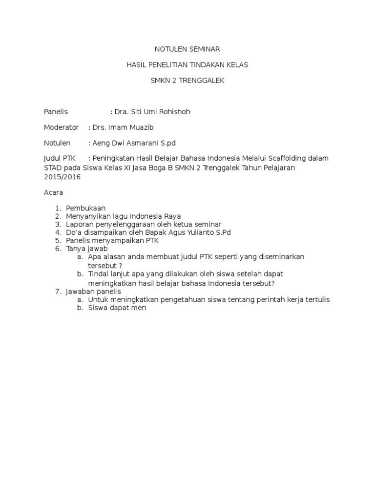 Notulen Seminar