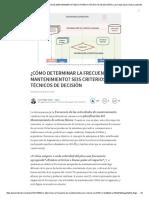 ¿Cómo Determinar La Frecuencia de Mantenimiento_ Seis Criterios Técnicos de Decisión _ Luis Felipe Sexto _ Pulse _ Linkedin