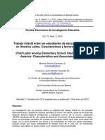 Trabajo Infantil Entre Los Estudiantes de Educación Primaria en América Latina