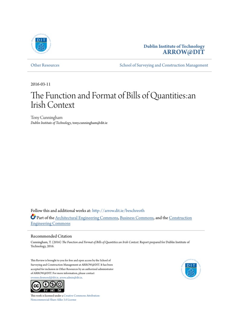 The function and format of bills of quantities an irish context the function and format of bills of quantities an irish context specification technical standard risk thecheapjerseys Choice Image