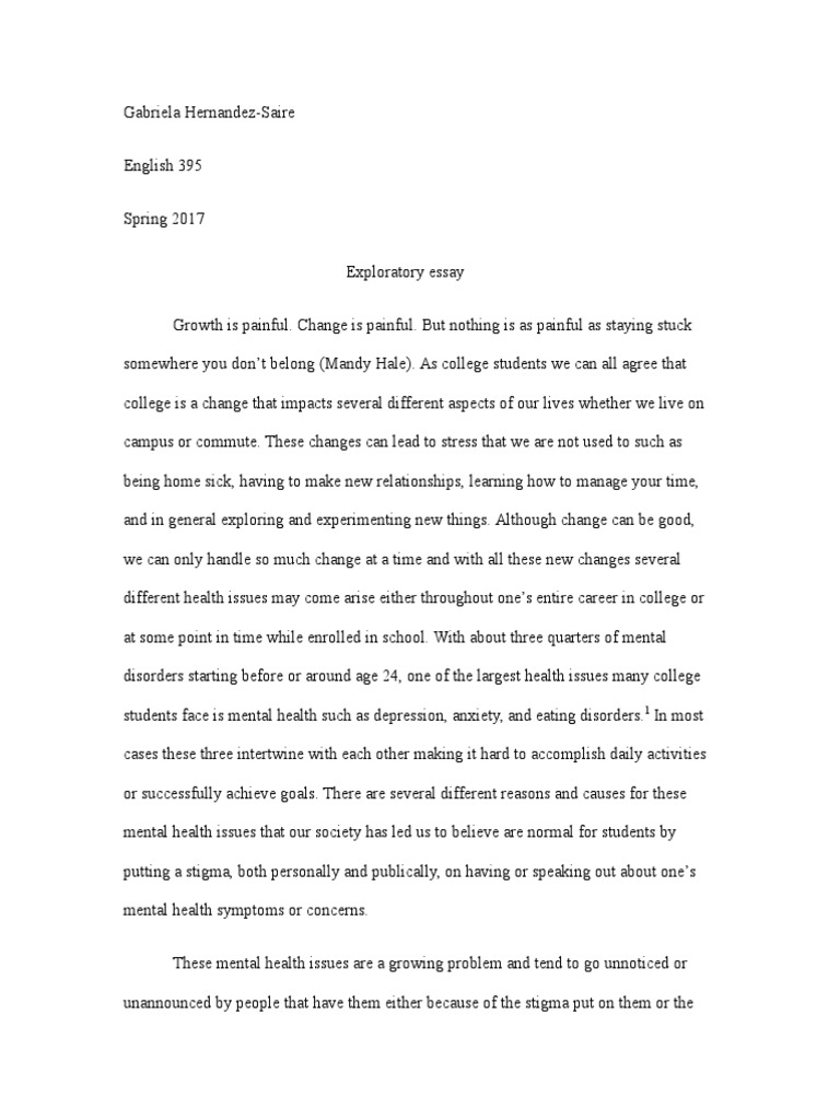 Exploratory Essay Draft   Mental Disorder  Mental Health
