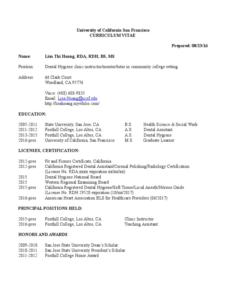 Lisa hoang cv dental hygienist dental degree xflitez Images