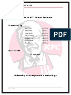 Project on KFC Human Resource Presented | Human Resource
