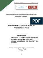 Norma Para La Presentacion de Proyecto de Tesis UNJBG - POST GRADO