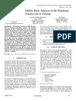 A Study on Profitability Ratio Analysis of the Sundaram Finance Ltd in Chennai