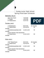 spring final exam schedule 2017