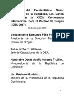 Discurso del presidente Danilo Medina en la XXXIV Conferencia Internacional para el Control de Drogas (IDEC-2017)